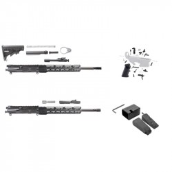 "AR15 AND AR 9MM 16"" RIFLE BUILDS KIT W/12"" SUPER SLIM KEYMOD HANDGUARDS LPKS STOCKS AND G-BLOCK MAGWELL ADAPTER KIT"