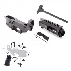 AR-15 80% Anodized BILLET Lower Combo with Stripped BILLET Upper Receiver, LPK Dust Cover and Charging Handle