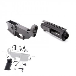AR-15 80% Anodized BILLET Lower Combo with Stripped BILLET Upper Receiver and LPK