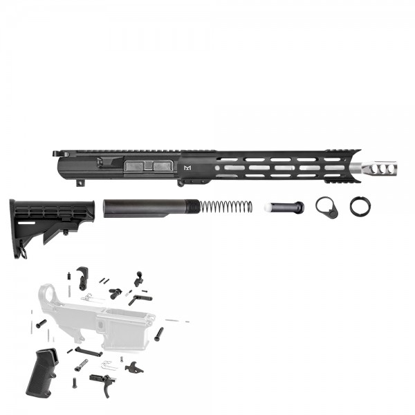 "308 Rifle Kit with BCG, Upper, Lower Part Kit & 12"" Hybrid M-Lok (Complete Upper Assembly and Lower Parts Kit)"