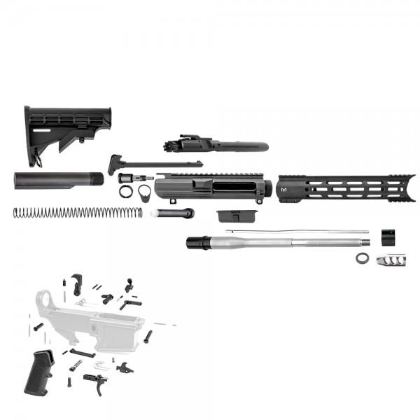 "AR10 .308 12.5"" Rifle Build Kit with 12"" Hybrid M-Lok Handgurad, Upper and Lower Part Kit"