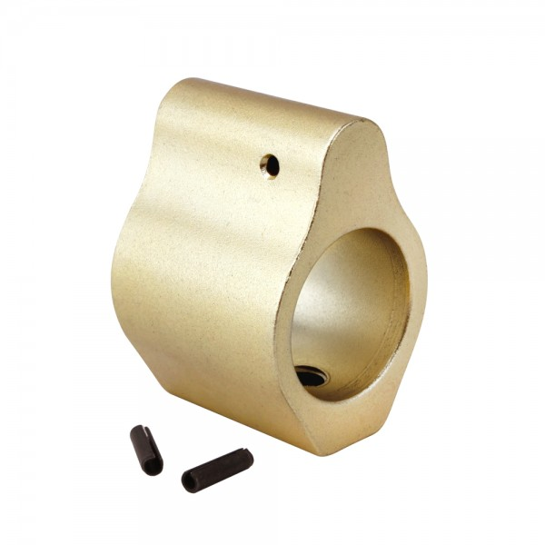 .750 Low Profile Aluminum Gas Block with Roll Pins & Wrench -Gold