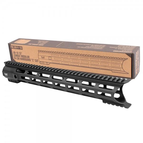 "AR-10 15"" Combat Modular M-Lok Handguard ""C"" Cut - Black"
