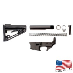 AR-15 80% Anodized Lower Combo with Rogers Super-Stoc Deluxe Stock Kit w/Tube, 3oz Buffer, Stainless Spring, Endplate,Catle Nut (223LOWER, ST-ROGERS, ST007M)
