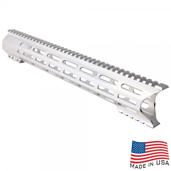 "AR-10 M-Lok 15"" Super Slim Light Free Float Handguard ""C"" Cut - RAW (Made In USA)"