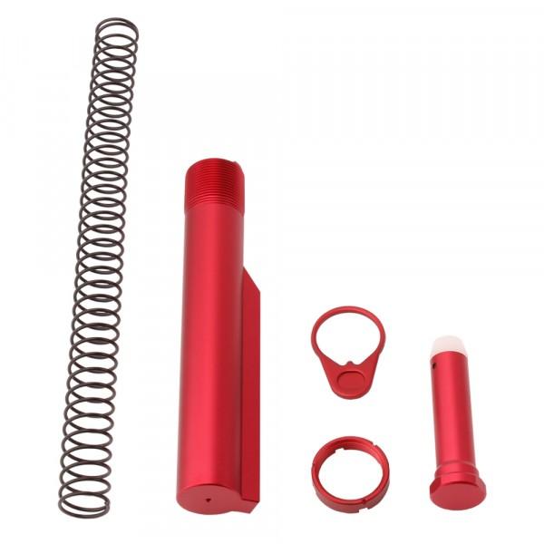 AR-15 M4 Six Position Buffer Tube Kit -Mil-Spec - Red