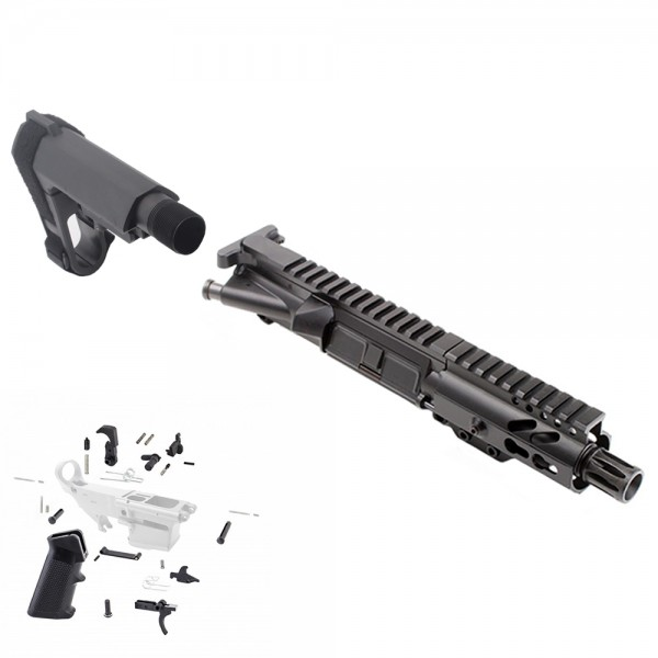 "AR 9MM 4.5"" PISTOL BUILD KIT W/ 4"" KEYMOD HANDGUARD BCG LPK &  SBA3 KIT"
