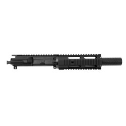 "AR 9MM 7.5"" PISTOL LENGTH 1:10 TWIST W/ 7"" FREE FLOAT QUAD RAIL - UPPER ASSEMBLY (FAKE SUPPRESSOR)"