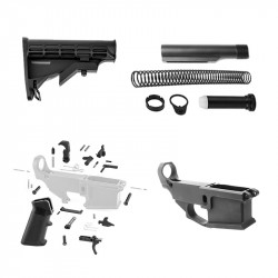 AR-15 80% Anodized BILLET Lower Combo with Stock Kit and LPK