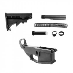 AR-15 80% Anodized BILLET Lower Combo with Stock Kit