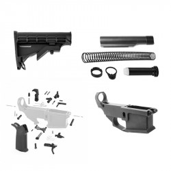 AR-15 80% Anodized BILLET Lower Combo with Stock Kit and LPK with Magpul Grip
