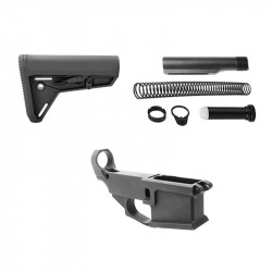 AR-15 80% Anodized BILLET Lower Combo with Magpul MOE SL CARB Mil-Spec Stock