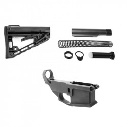 AR-15 80% Anodized BILLET Lower Combo with Rogers Super-Stoc Deluxe Stock Kit w/Tube, 3oz Buffer, Stainless Spring, Endplate,Catle Nut