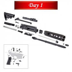 DAY 1: AR-15 Rifle Kit with LPK BCG Upper Barrel Stock Handguard Charging Handle Dust Cover Forward Assist Gas Block Gas Tube