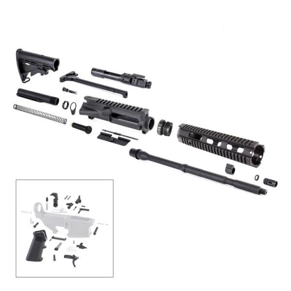 AR-15 Rifle Kit with LPK BCG Upper Barrel Stock Handguard Charging Handle Dust Cover Forward Assist Gas Block Gas Tube