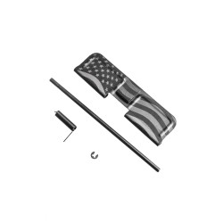 AR-10 Ejection Port Dust Cover Complete Assembly - USA Flag Engraved Both Sides