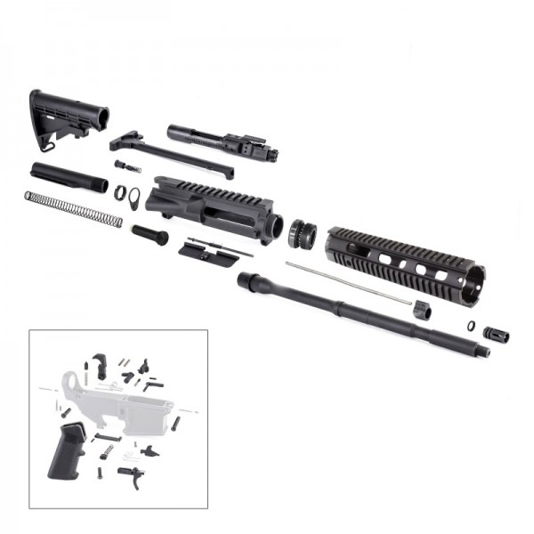 AR-15 Rifle Kit with LPK BCG Upper Barrel Stock Handguard Charging Handle Dust Cover Forward Assist Gas Block Gas Tube
