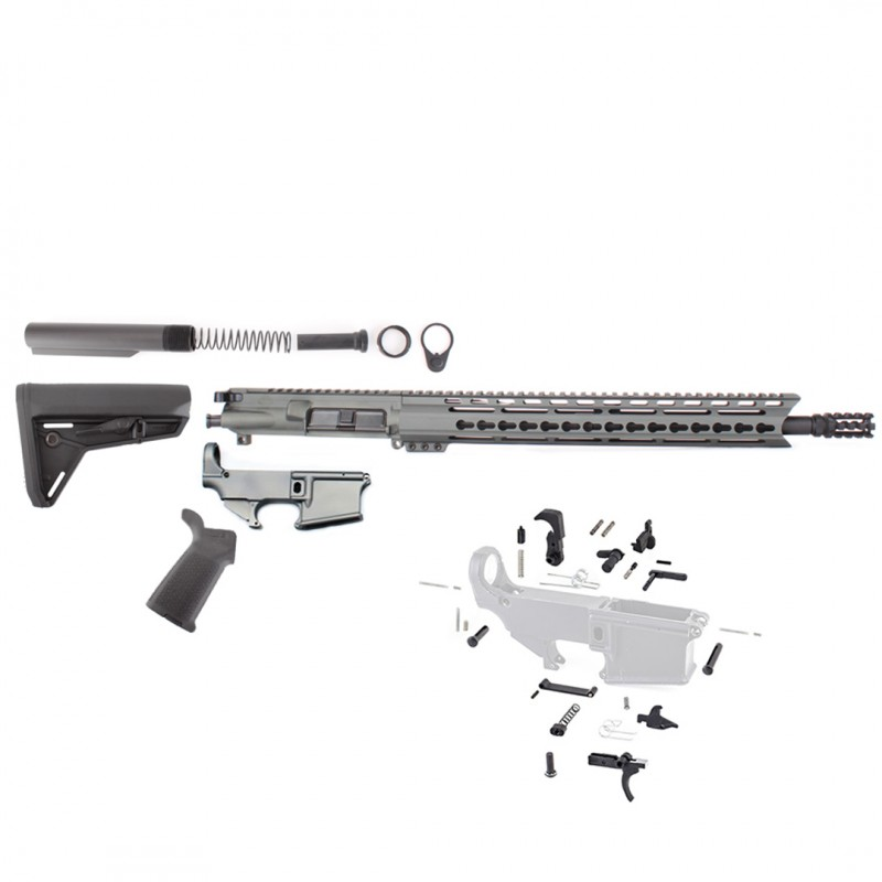 "AR-15 Rifle Build Kit With Custom USA Made 15"" Grey"