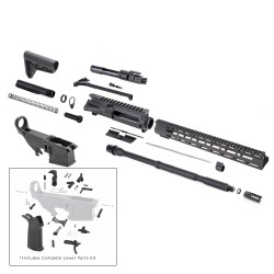 """AR-15 Rifle Kit with Complete Upper Build with Magpul Kits, USA Made 15"""" M-Lok Handguard, Upper, 80% Lower and Lower Parts Kit"""
