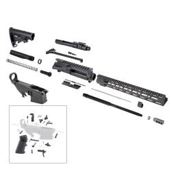"AR 7.62X39 Rifle Kit with 15"" USA Made M-Lok Slim Light Handguard, BCG, LPK and 80% Lower"