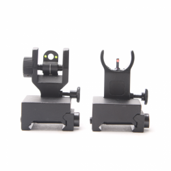 Fiber Optics Flip Up 45 Degree Front & Rear Sights with Red and Green Dots - Packaged